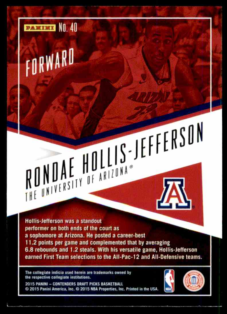2015-16 Panini Contenders Draft Picks Ronde Hollis-Jefferson #40 card back image