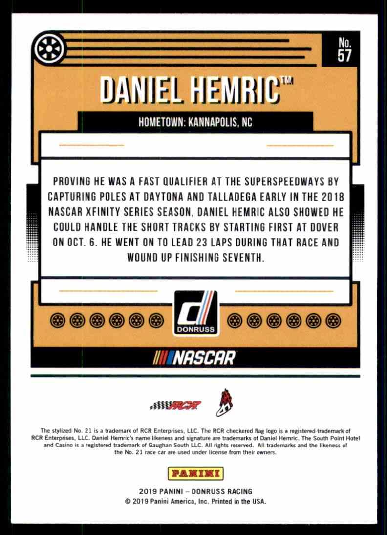 2019 Donruss Silver Daniel Hemric #57 card back image