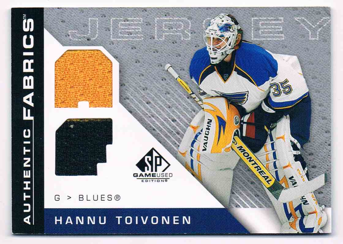 2007-08 Upper Deck SP Game Used Authentic Fabrics Jersey Hannu Toivonen #AF-HT card front image