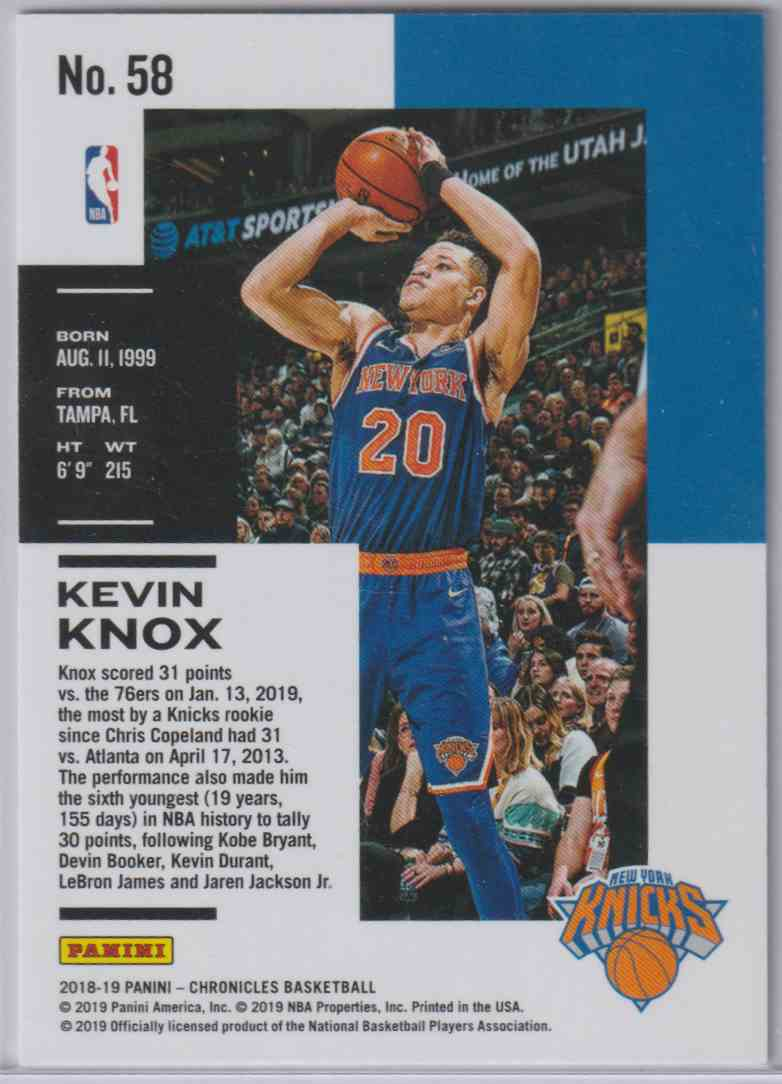 2018-19 Panini Chronicles Base Red Kevin Knox #58 card back image