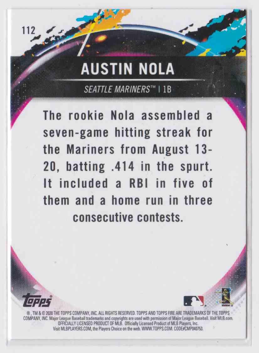 2020 Topps Fire Austin Nola #112 card back image