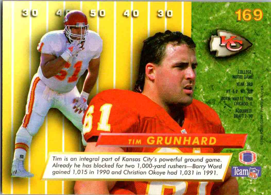 1992 Fleer Ultra Tim Grunhard #169 card back image