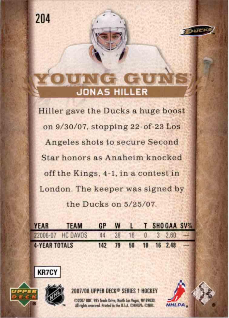 2007-08 Upper Deck Young Guns Yg Jonas Hiller #204 card back image