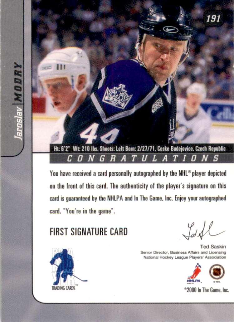 2000-01 Bap Signature Series Autographs Jaroslav Modry #191 card back image