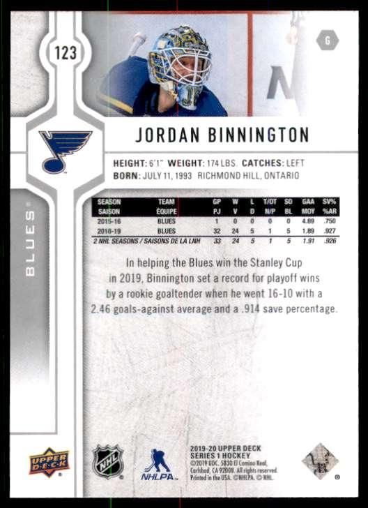 2019-20 Upper Deck Jordan Binnington #123 card back image