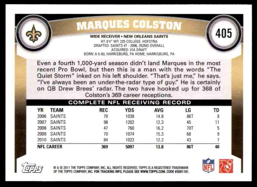 2011 Topps Marques Colston #405 card back image
