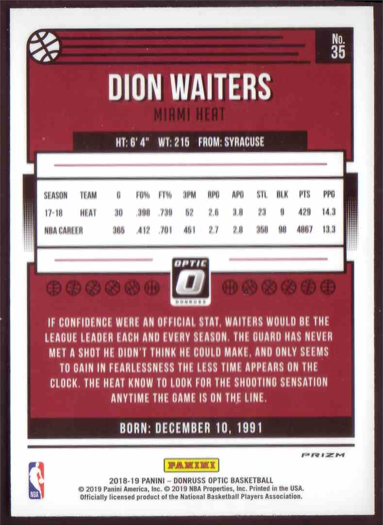 2018-19 Donruss Optic Prizm Holo Dion Waiters #35 card back image