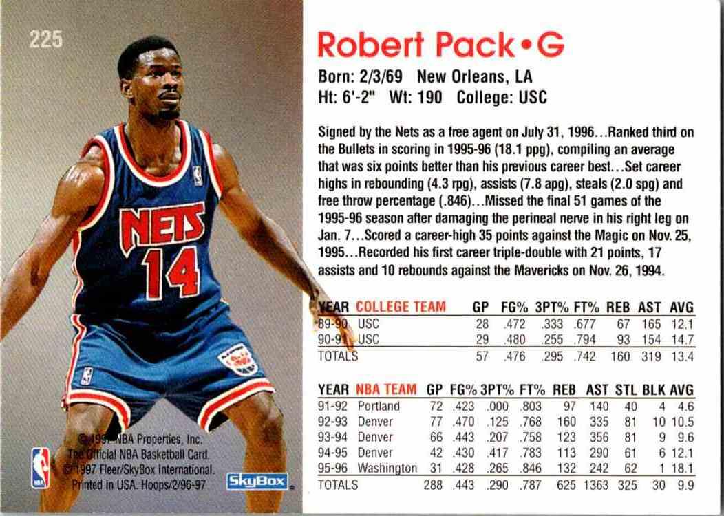1997-98 NBA Hoops Robert Pack #225 card back image