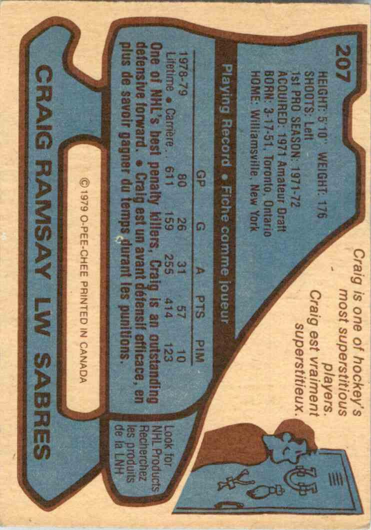 1979-80 O-Pee-Chee Craig Ramsay #207 card back image