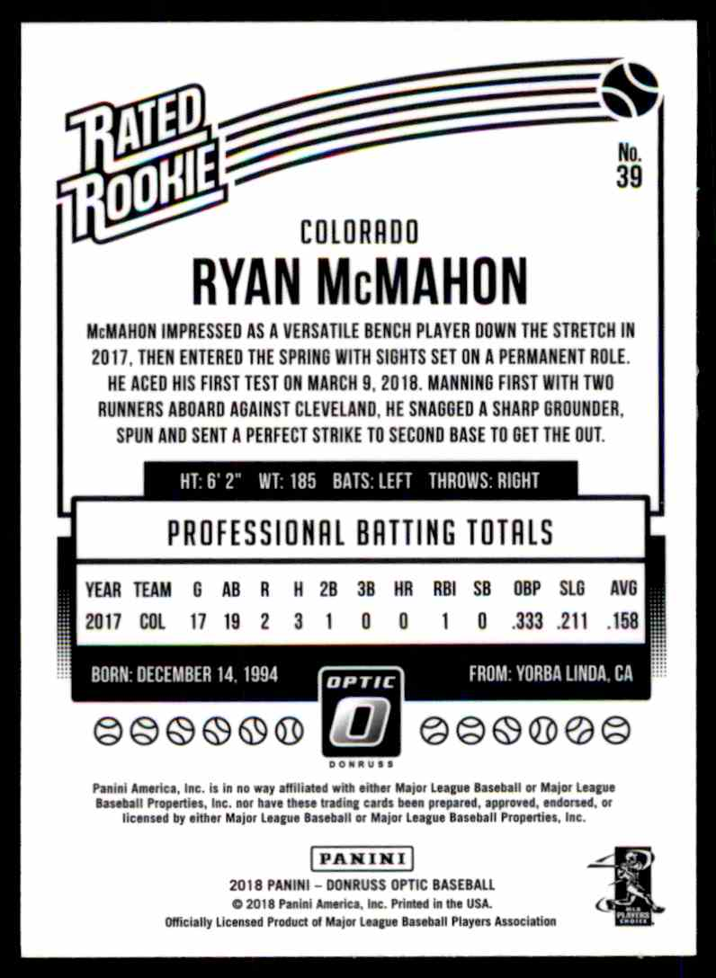 2018 Donruss Optic Ryan McMahon #39 card back image