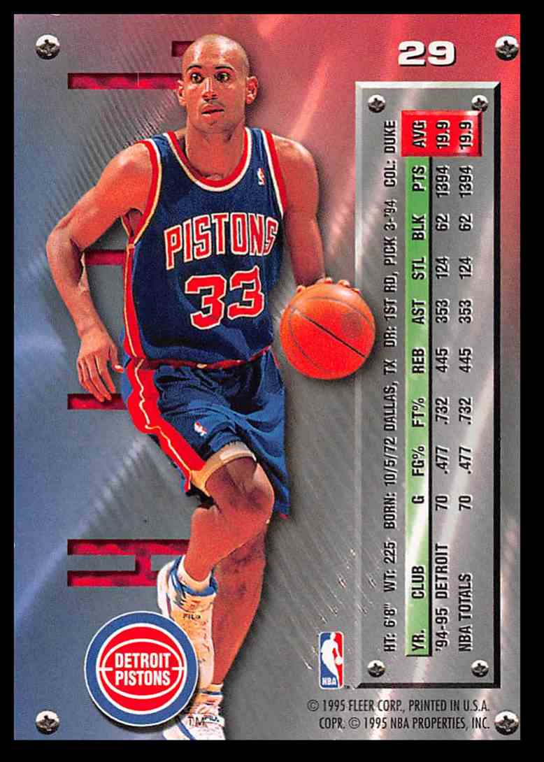 1995-96 Fleer Fleer Metal Grant Hill #29 card back image