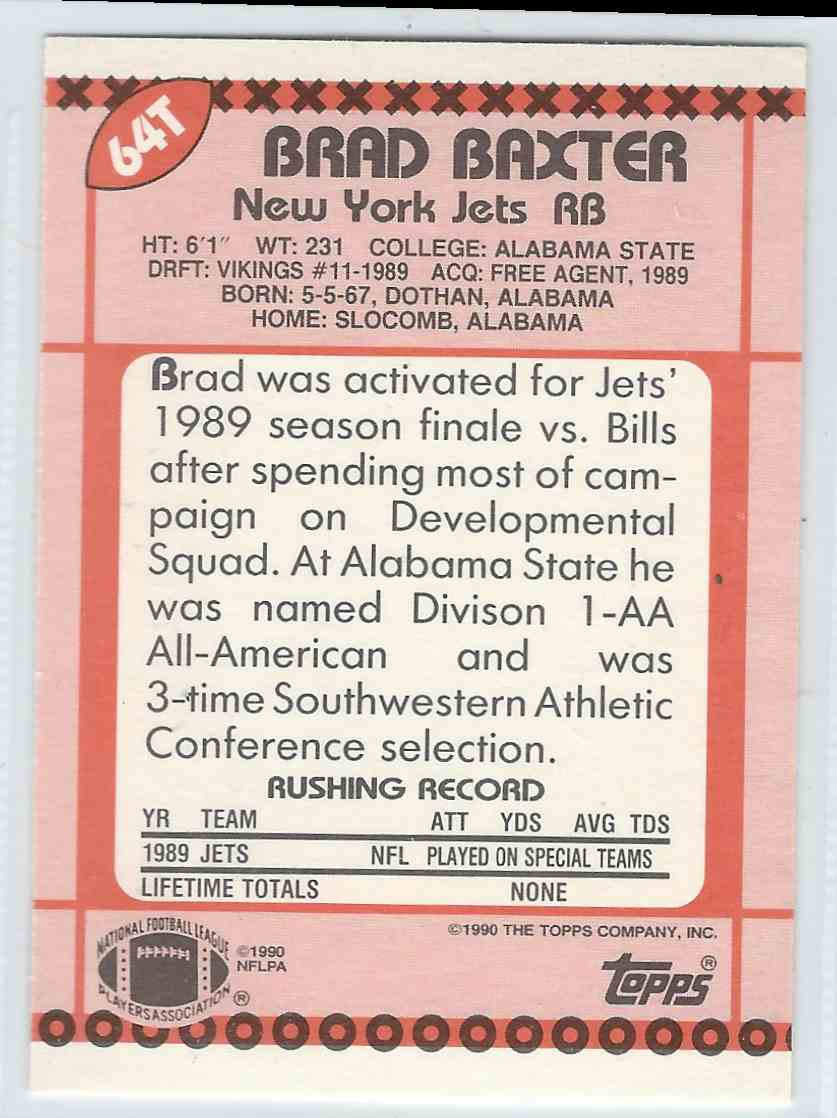 1990 Topps Traded Brad Baxter #64T card back image