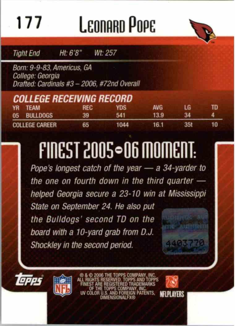 2006 Topps Finest Leonard Pope #177 card back image