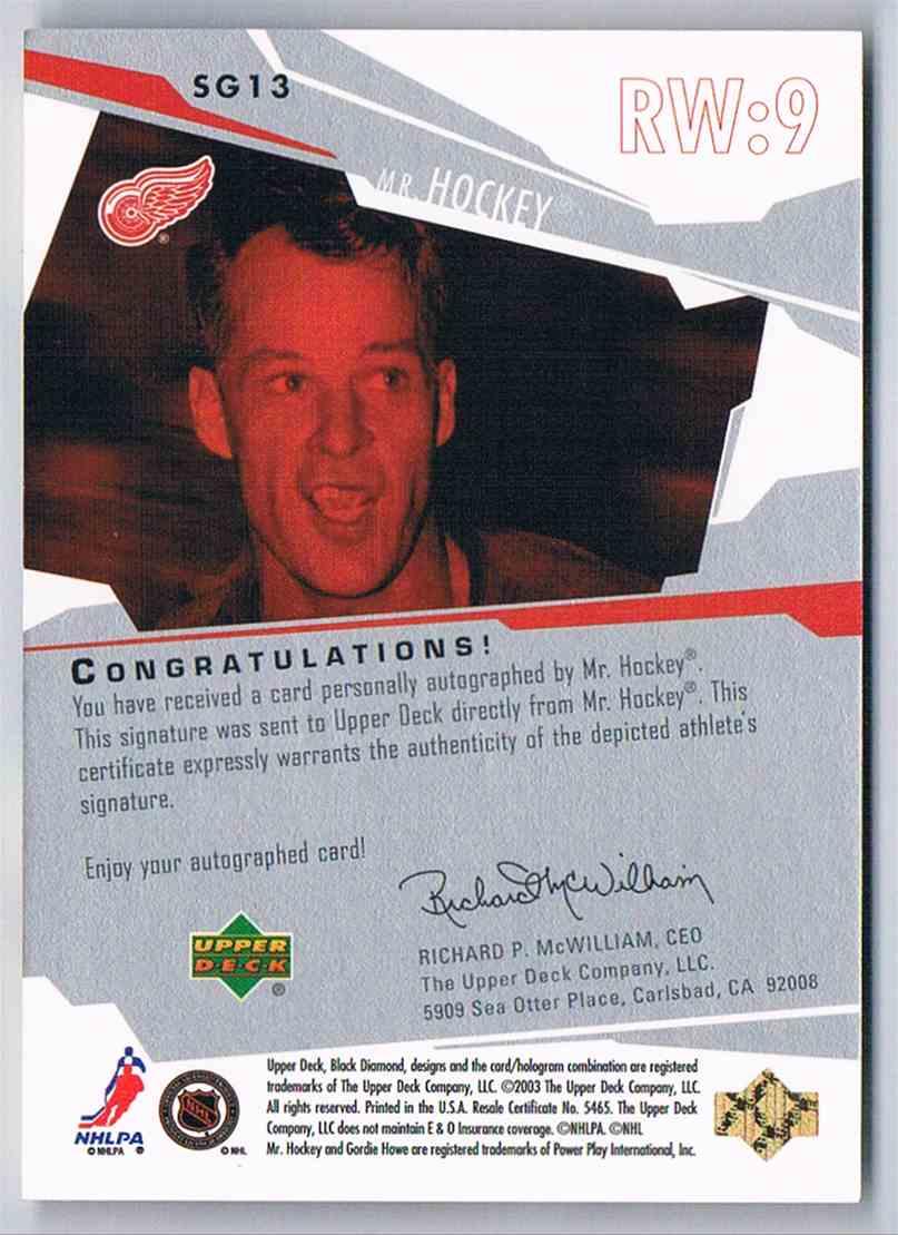 2003-04 Upper Deck Black Diamond Signature Gems Gordie Howe #SG13 card back image