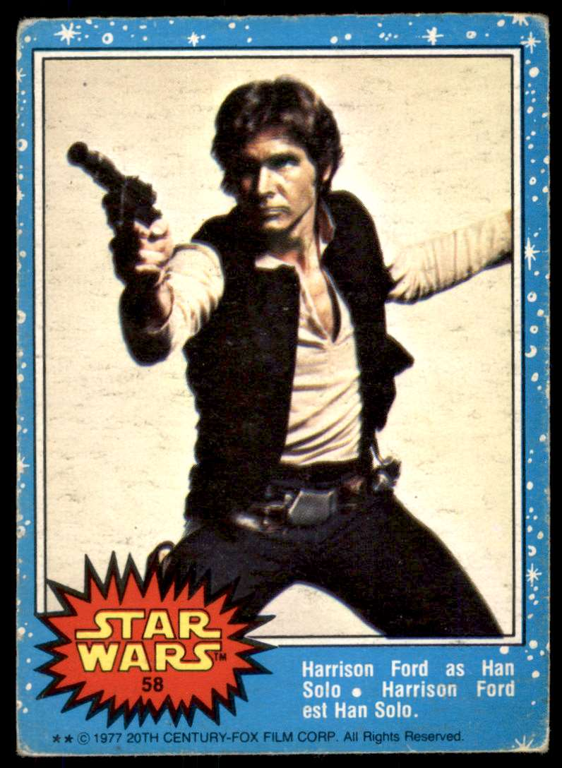 1977 Topps Star Wars Blue Harrison Ford Han Sol #58 card front image