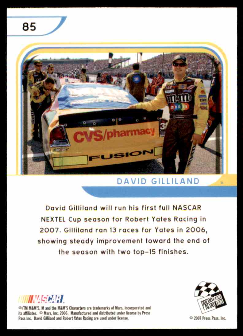 2007 Press Pass Eclipse David Gilliland #85 card back image