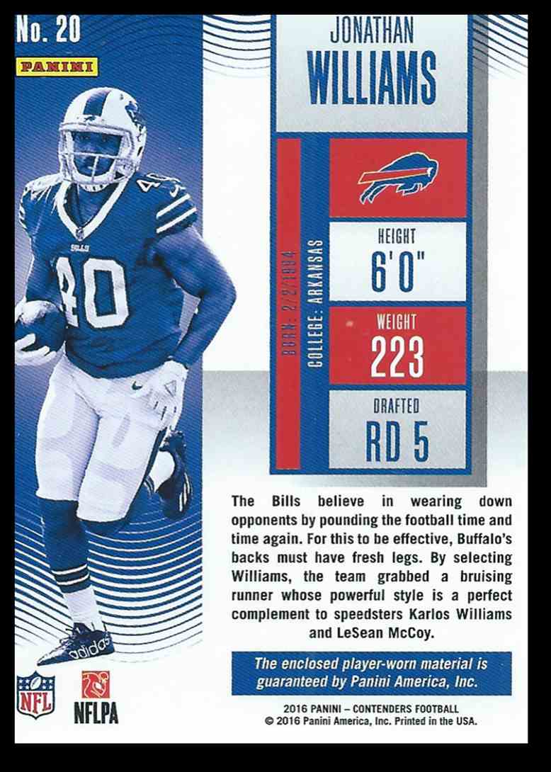 2016 Panini Contenders Jonathan Williams #20 card back image