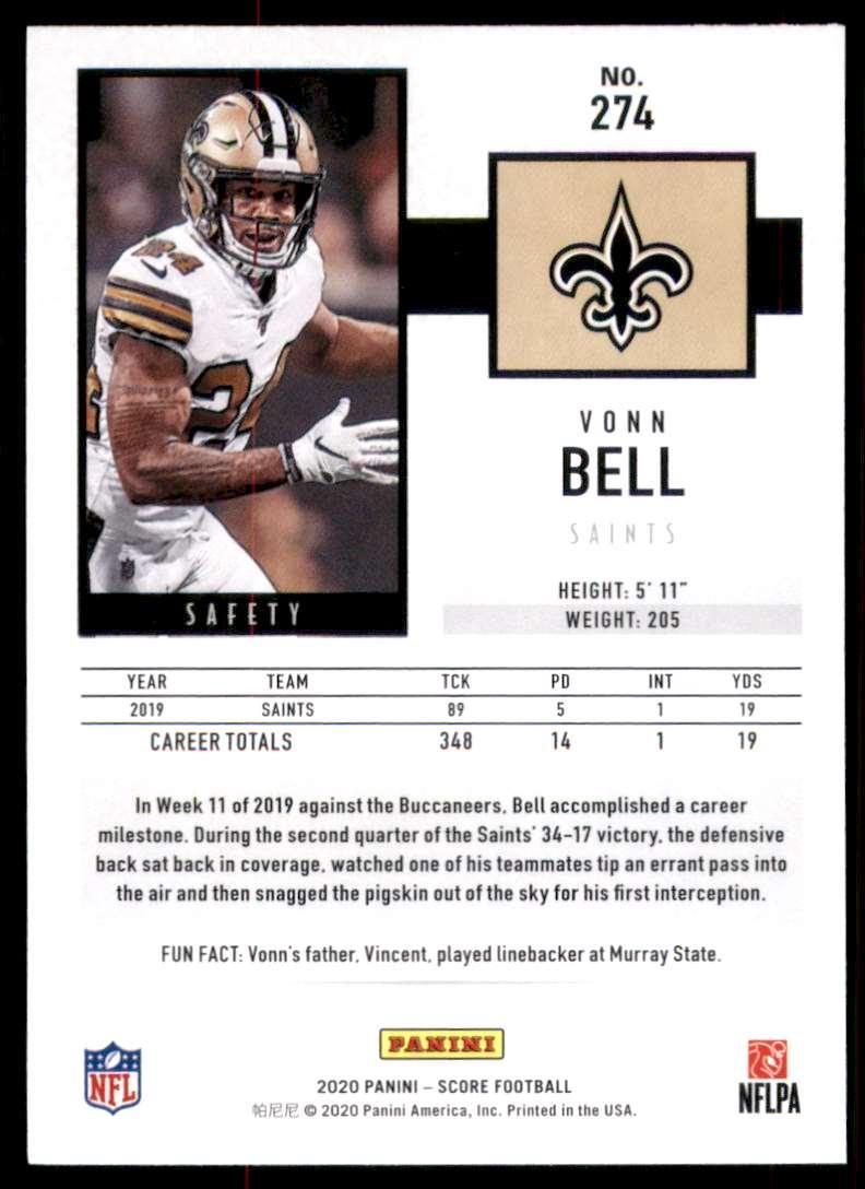 2020 Score Vonn Bell #274 card back image