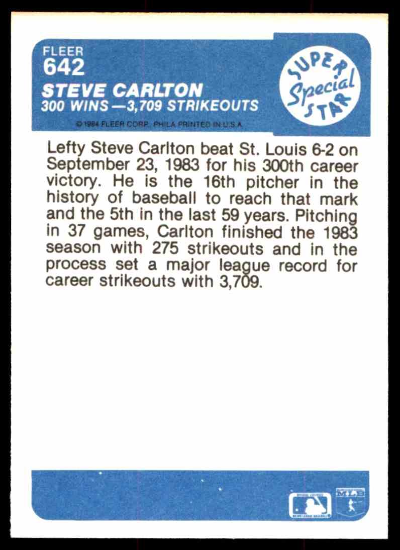 1984 Fleer Steve Carlton #642 card back image