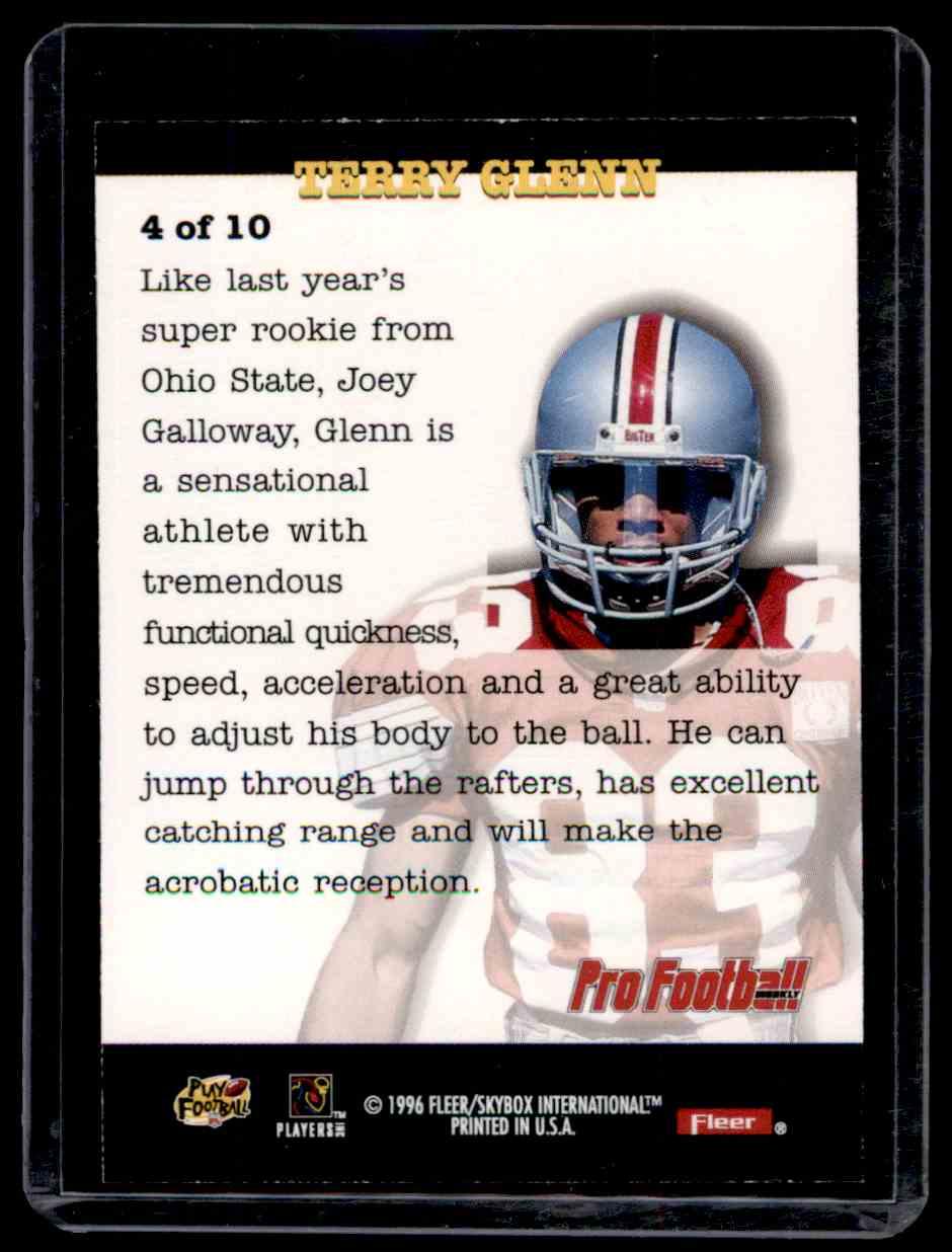 1996 Fleer Rookie Write-Ups Terry Glenn #4 card back image