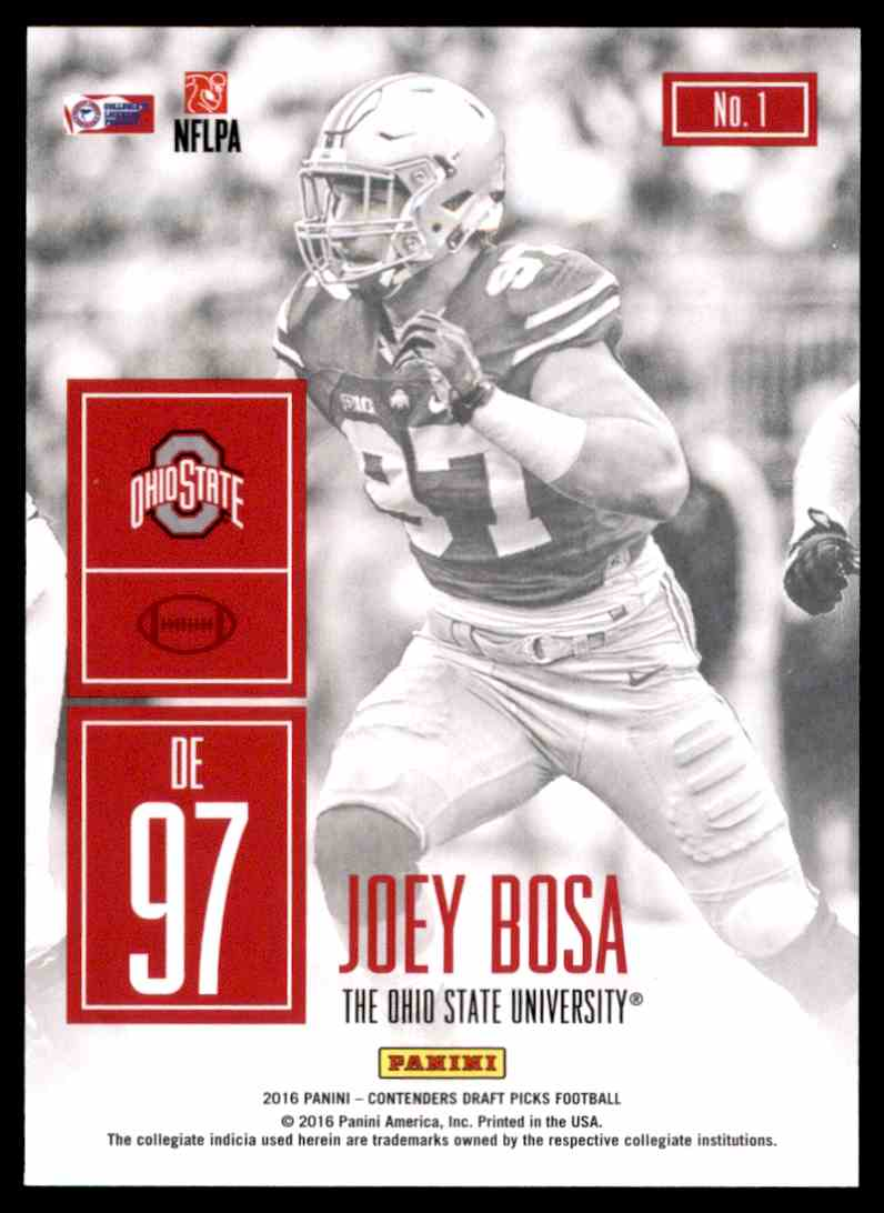 2016 Panini Contenders Draft Picks Game Day Tickets Joey Bosa #1 card back image