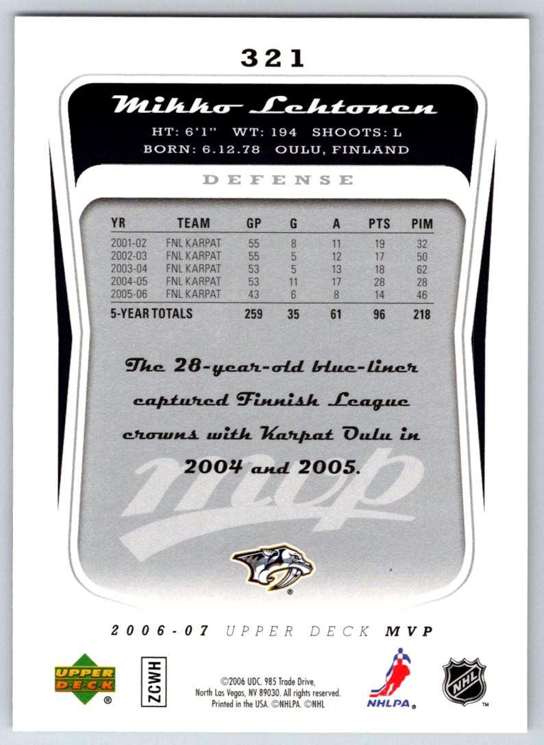 2006-07 Upper Deck MVP Mikko Lehtonen #321 card back image