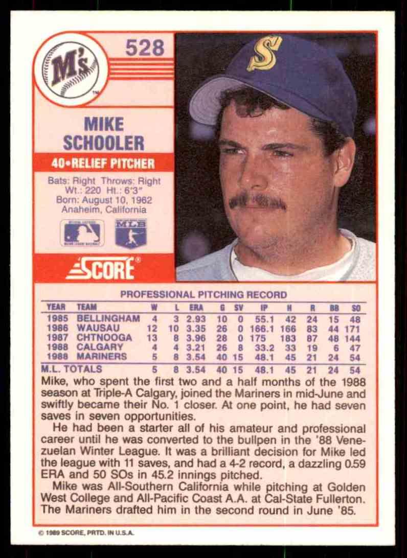 1989 Score Regular Mike Schooler #528 card back image