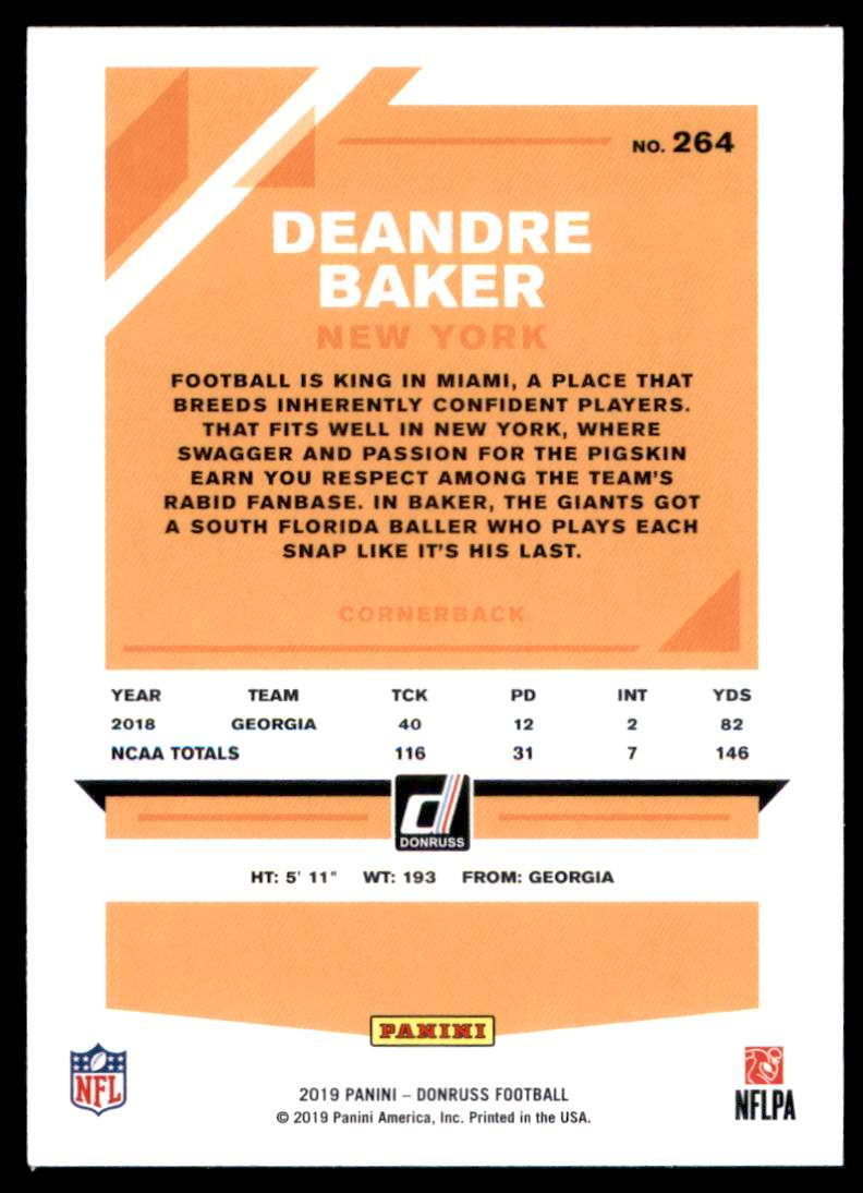 2019 Donruss Deandre Baker #264 card back image