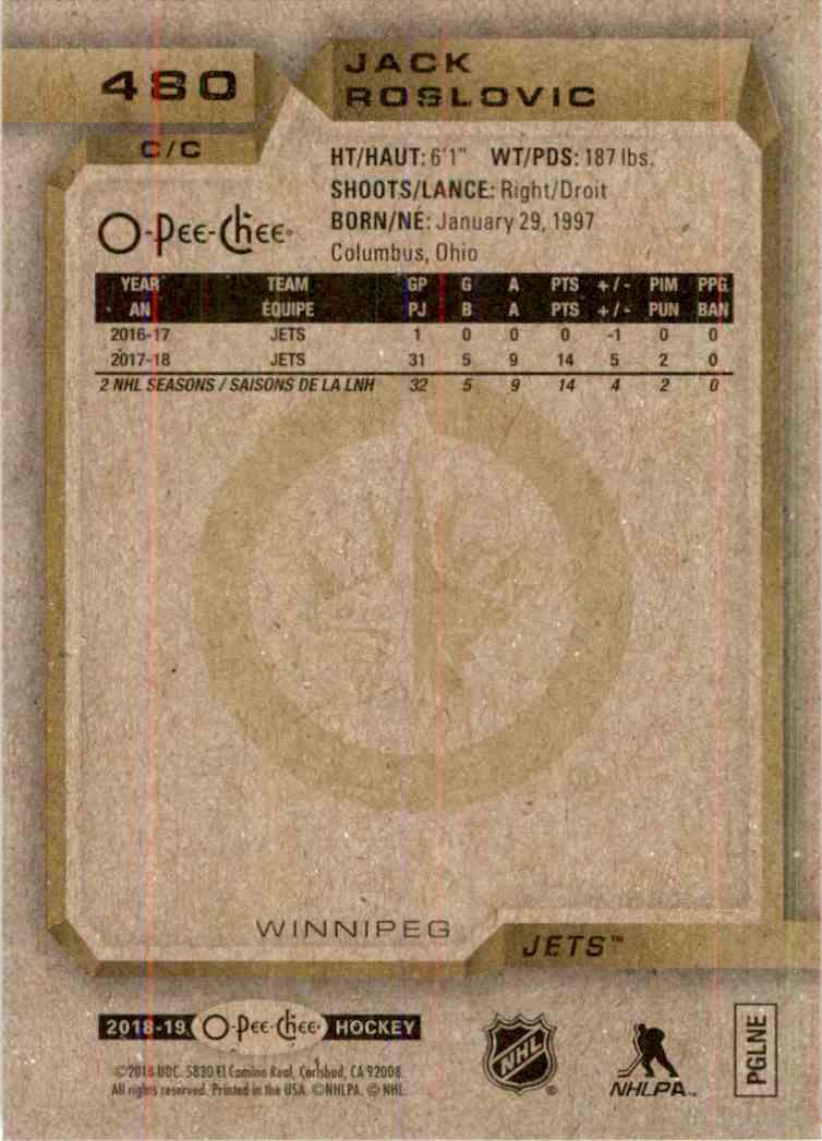 2018-19 O-Pee-Chee Jack Roslovic #480 card back image