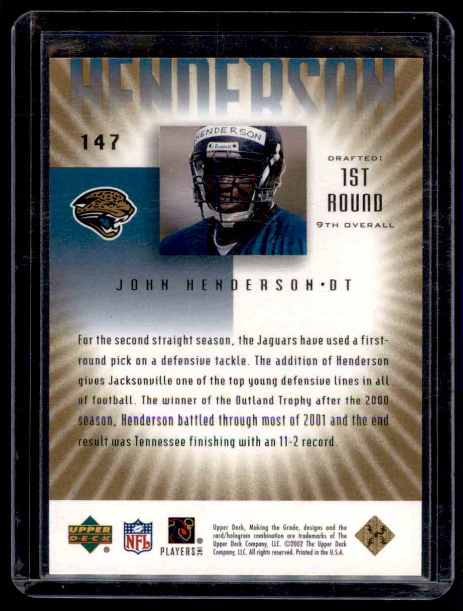 2002 UD Graded Gold John Henderson #147 card back image