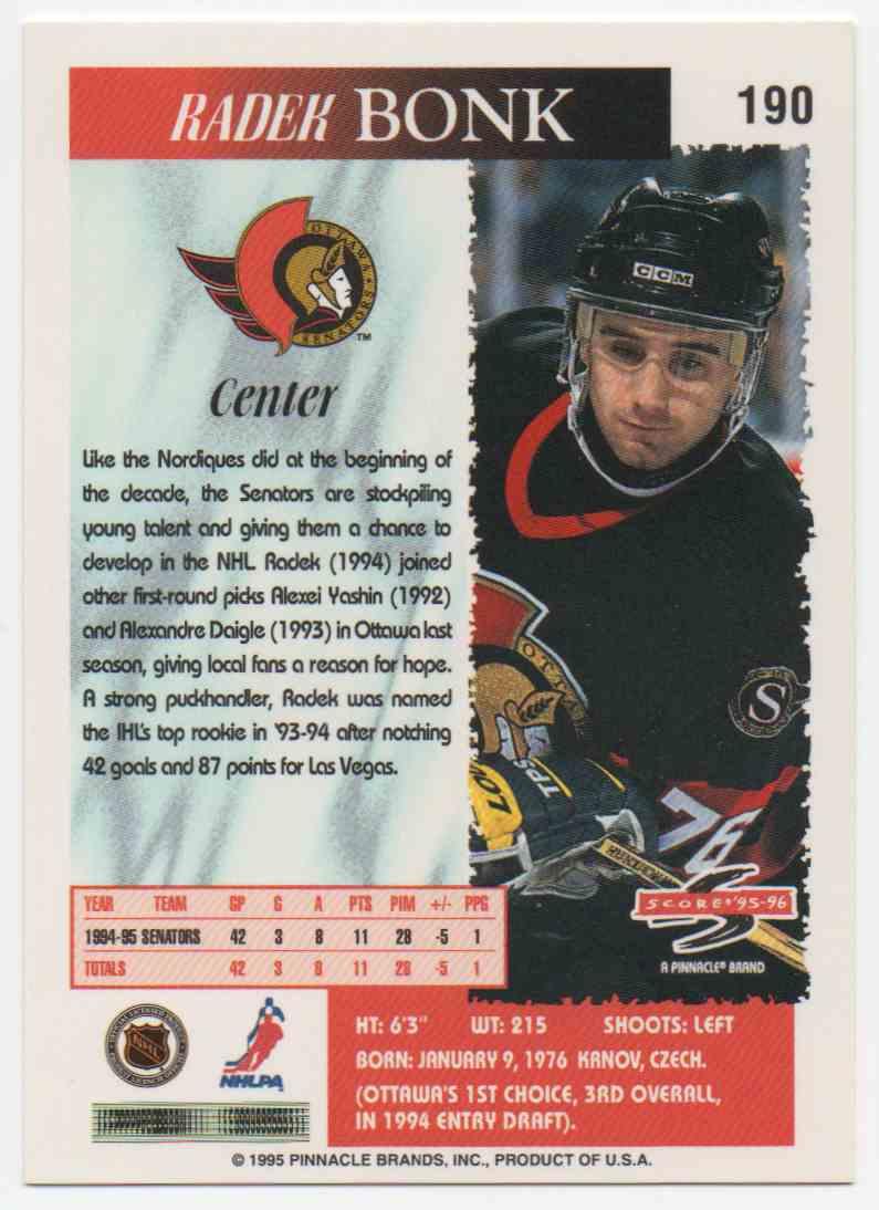 1995-96 Score Radek Bonk #190 card back image