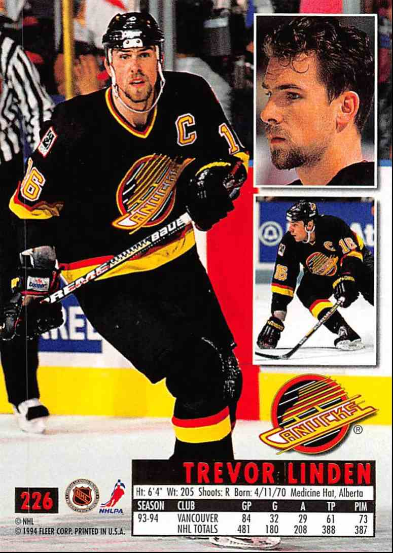 1994-95 Ultra Trevor Linden #226 card back image