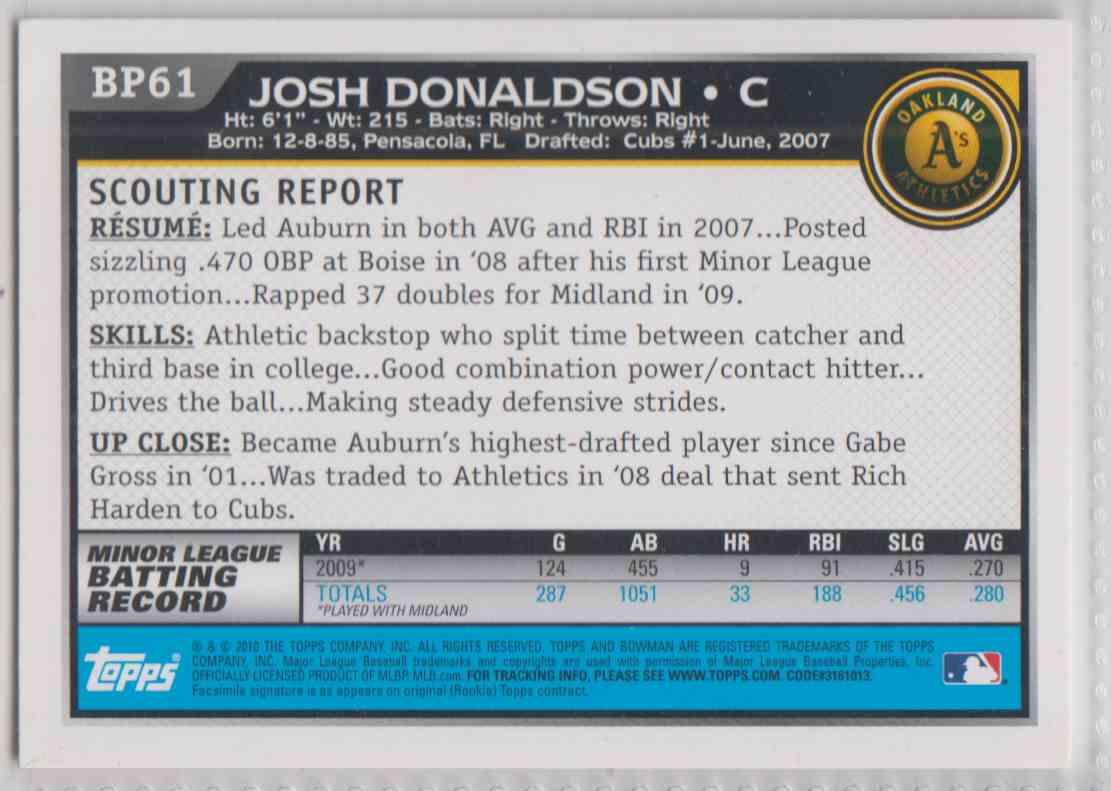 2010 Bowman Prospects Josh Donaldson #BP61 card back image