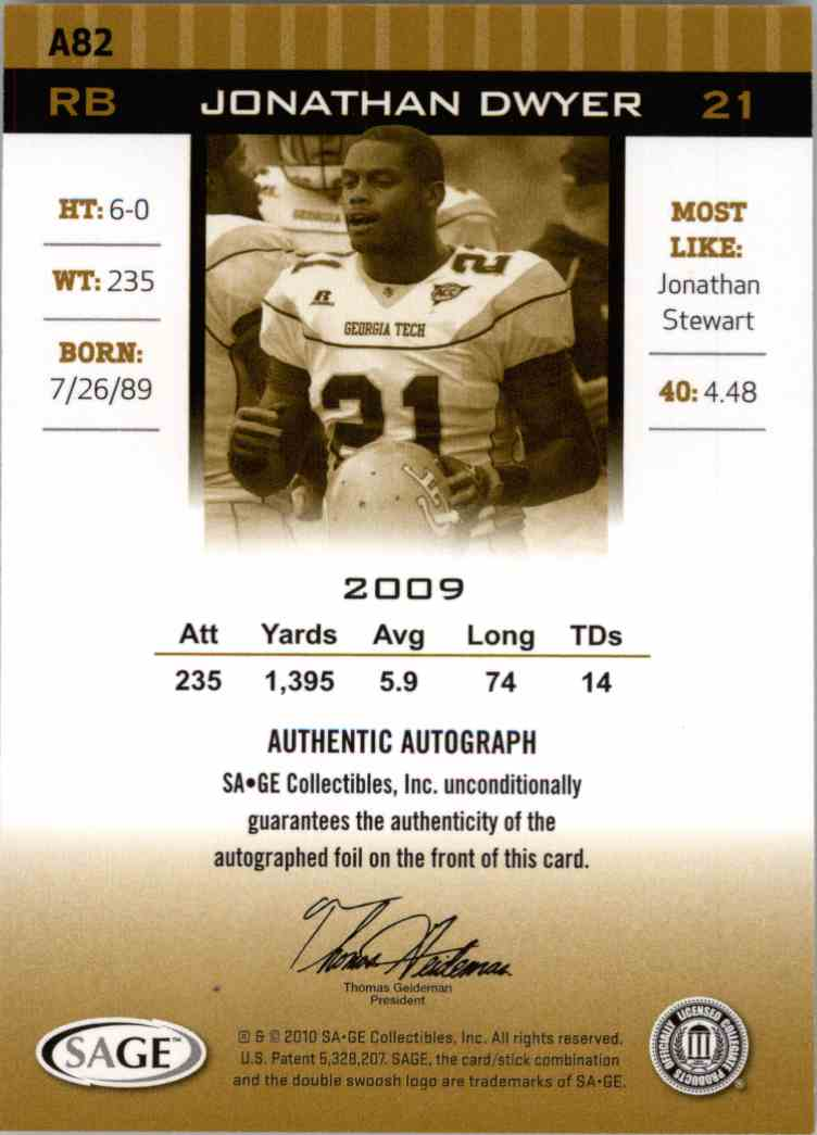 2010 Sage Hit Jonathan Dwyer #A82 card back image