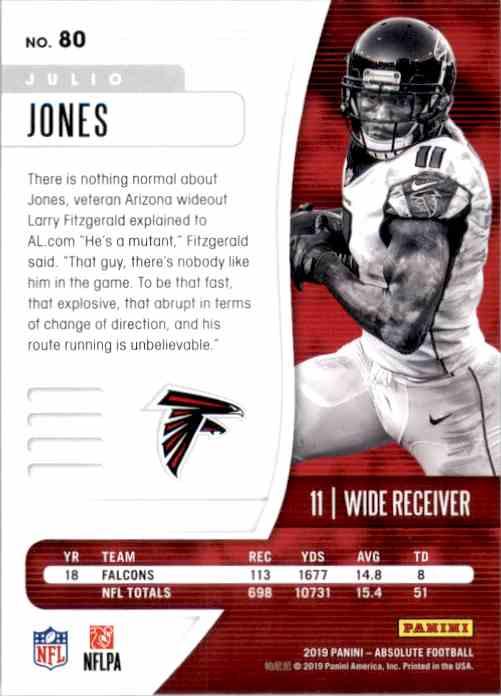 2019 Absolute Retail Julio Jones #80 card back image