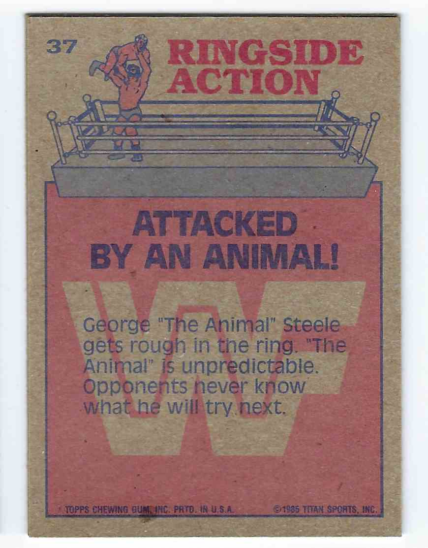 "1985 Topps WWF Pro Wrestling Stars George ""The Animal"" Steele #37 card back image"