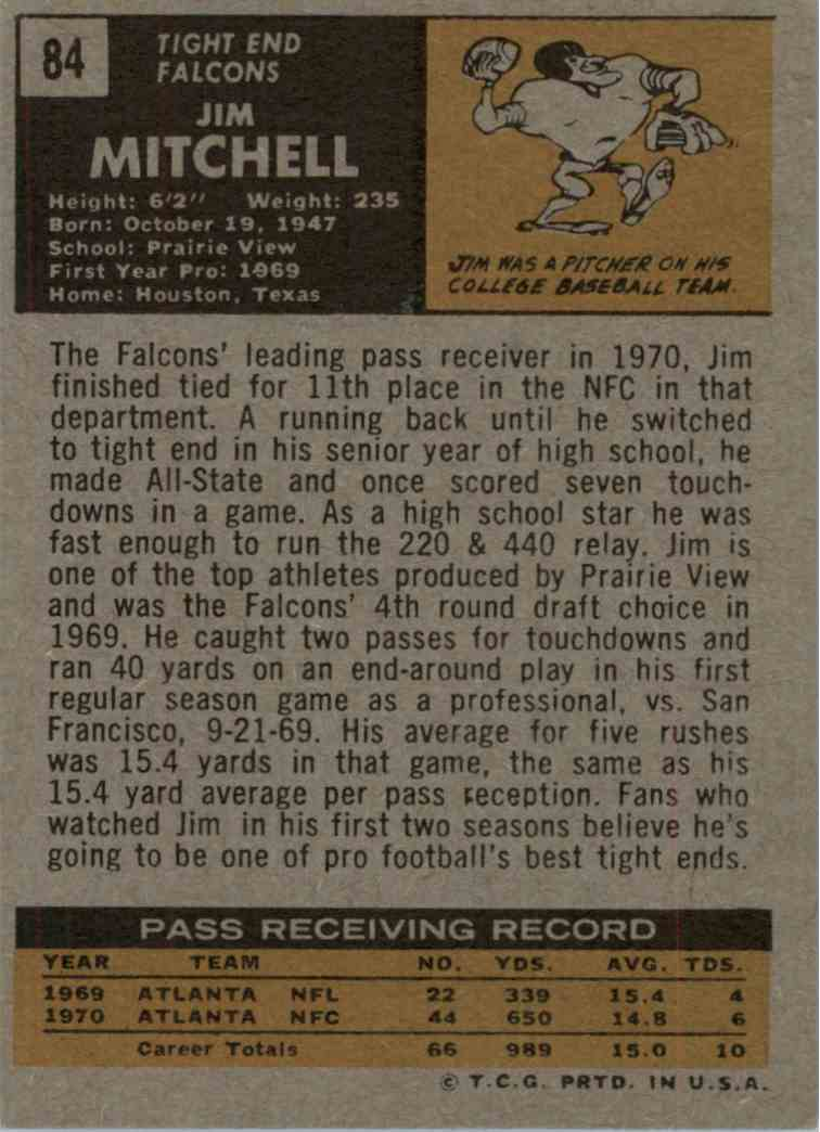 1971 Topps Jim Mitchell #84 card back image