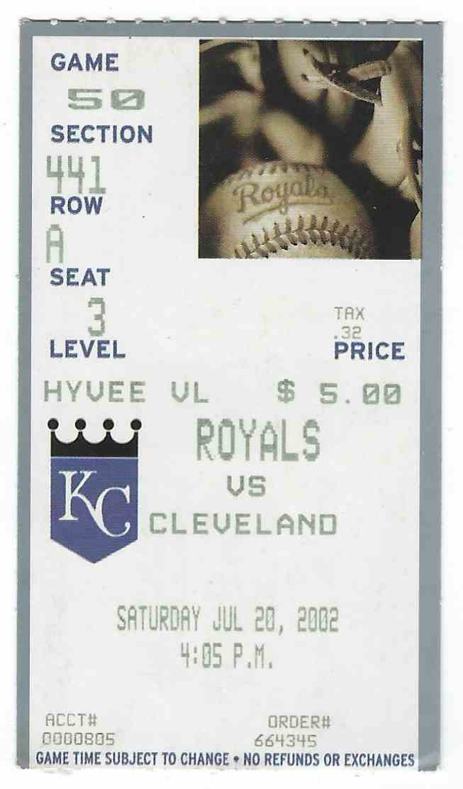 2002 Major League Baseball Ticket Stub Cleveland Indians Vs Kansas City Royals card front image