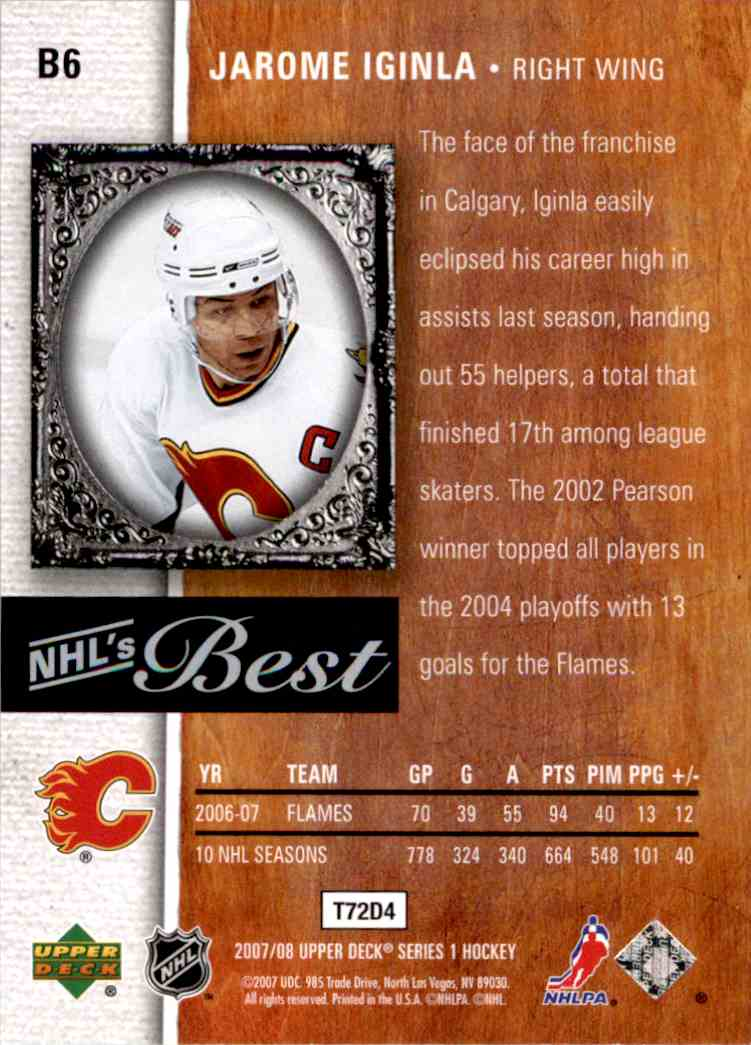 2007-08 Upper Deck Nhl's Best Jarome Iginla #B6 card back image