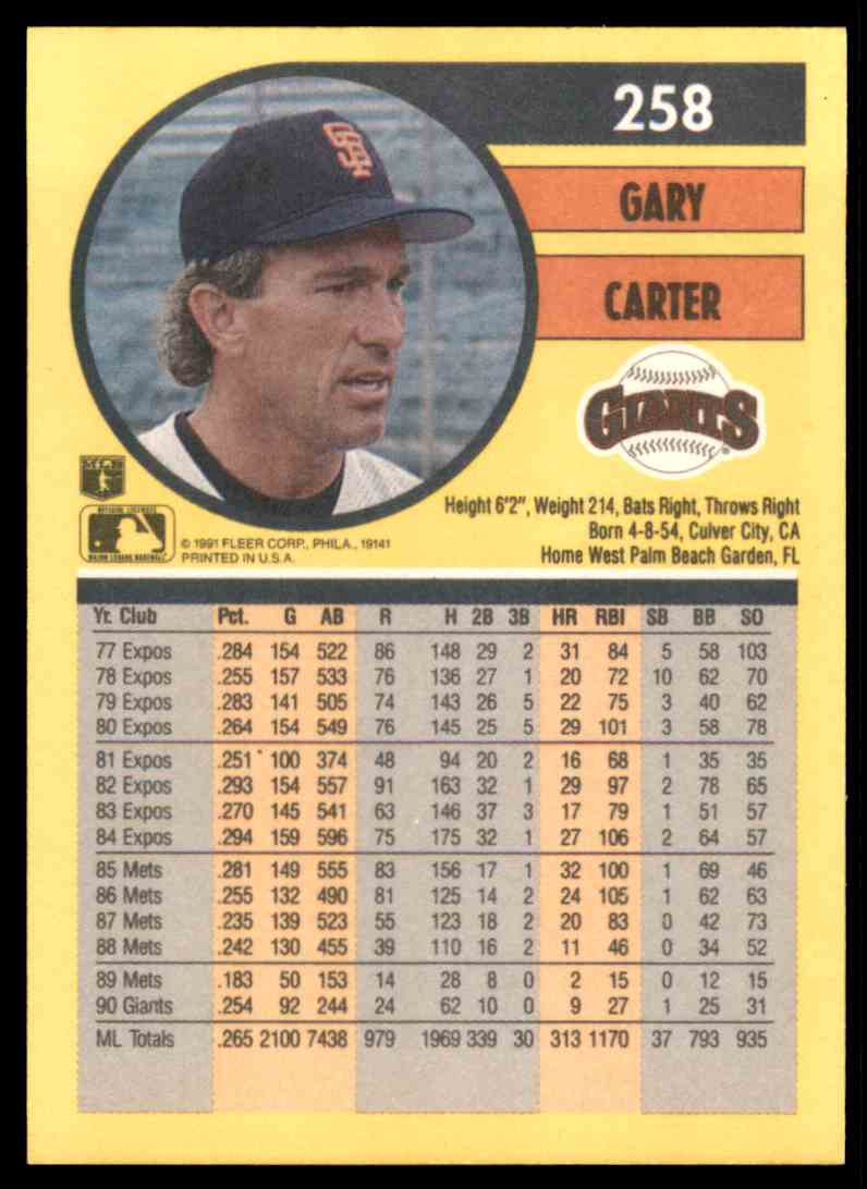1991 Fleer Gary Carter #258 card back image