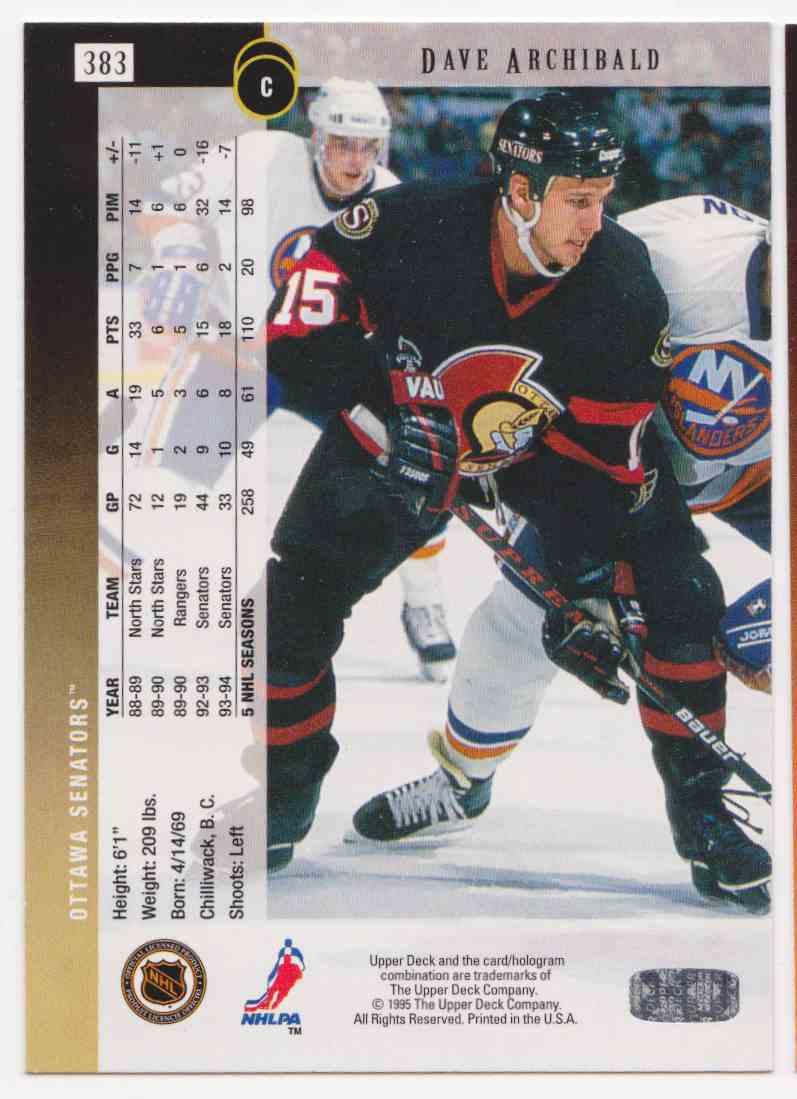 1994-95 Upper Deck Dave Archibald #383 card back image