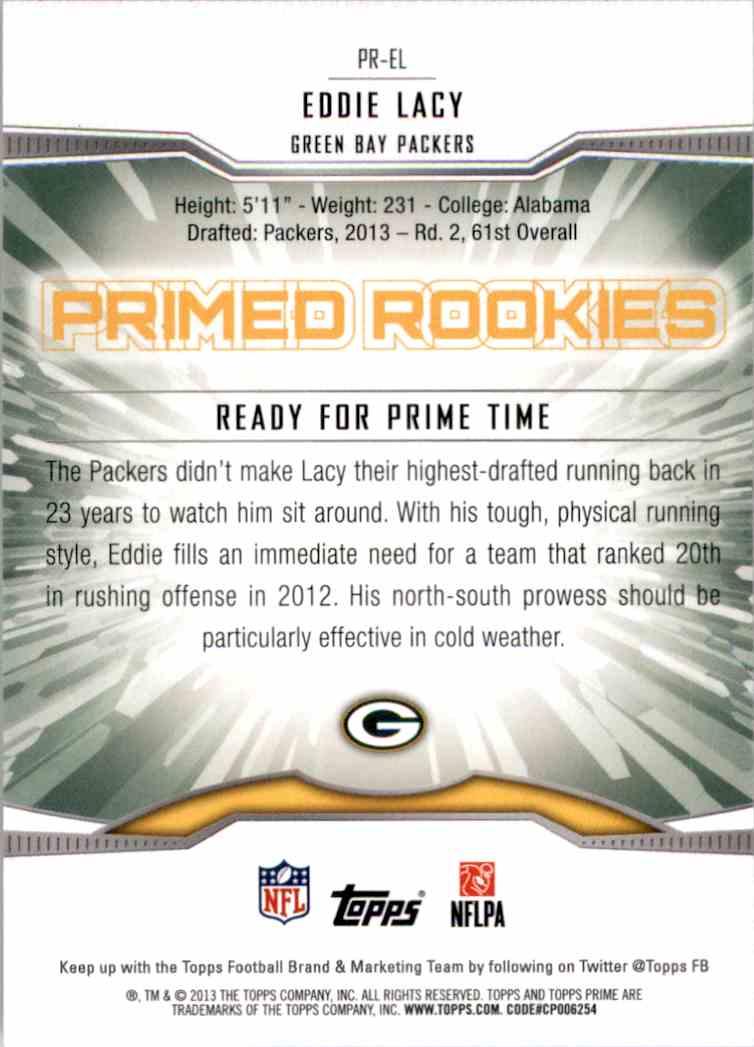 2013 Topps Prime Primed Rookies Eddie Lacy #PREL card back image