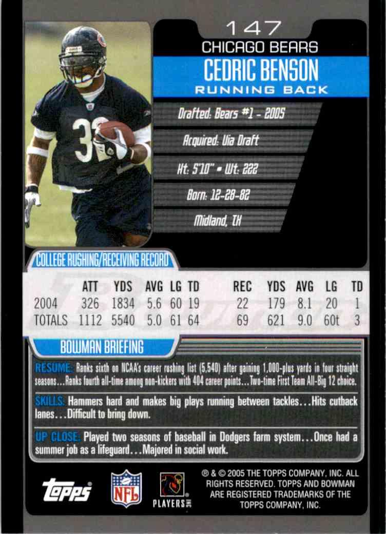 2005 Bowman Cedric Benson RC #147 card back image