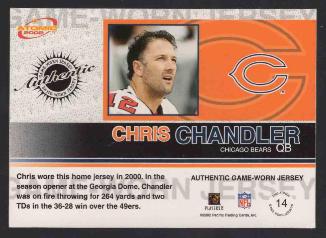 2002 Atomic Game Worn Jerseys Chris Chandler #14 card back image