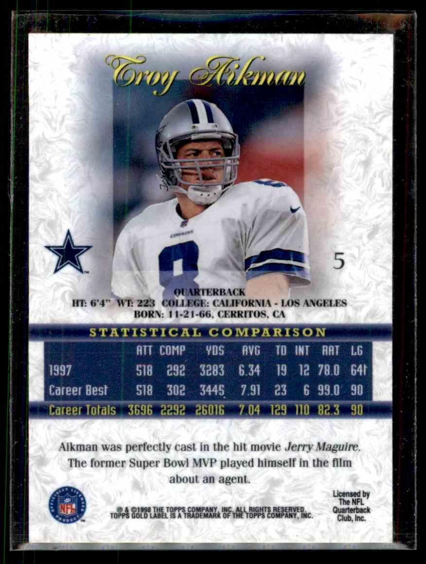 1998 Topps Gold Label Class 1 Troy Aikman #5 on Kronozio