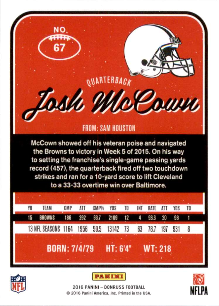 2016 Donruss Josh McCown #67 card back image