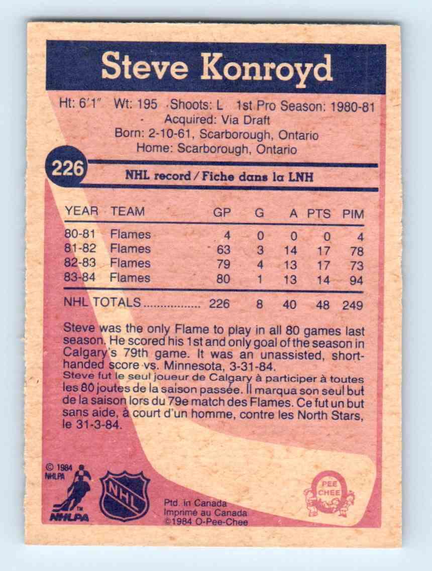 1984-85 O-Pee-Chee * Steve Konroyd #226 card back image