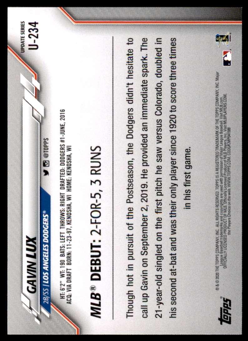 2020 Topps Update Gavin Lux #U-234 card back image