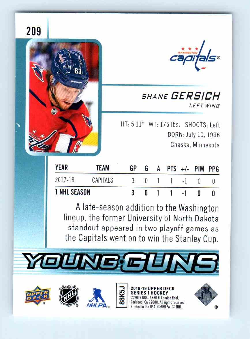 2018-19 Upper Deck Young Guns Shane Gersich #209 card back image