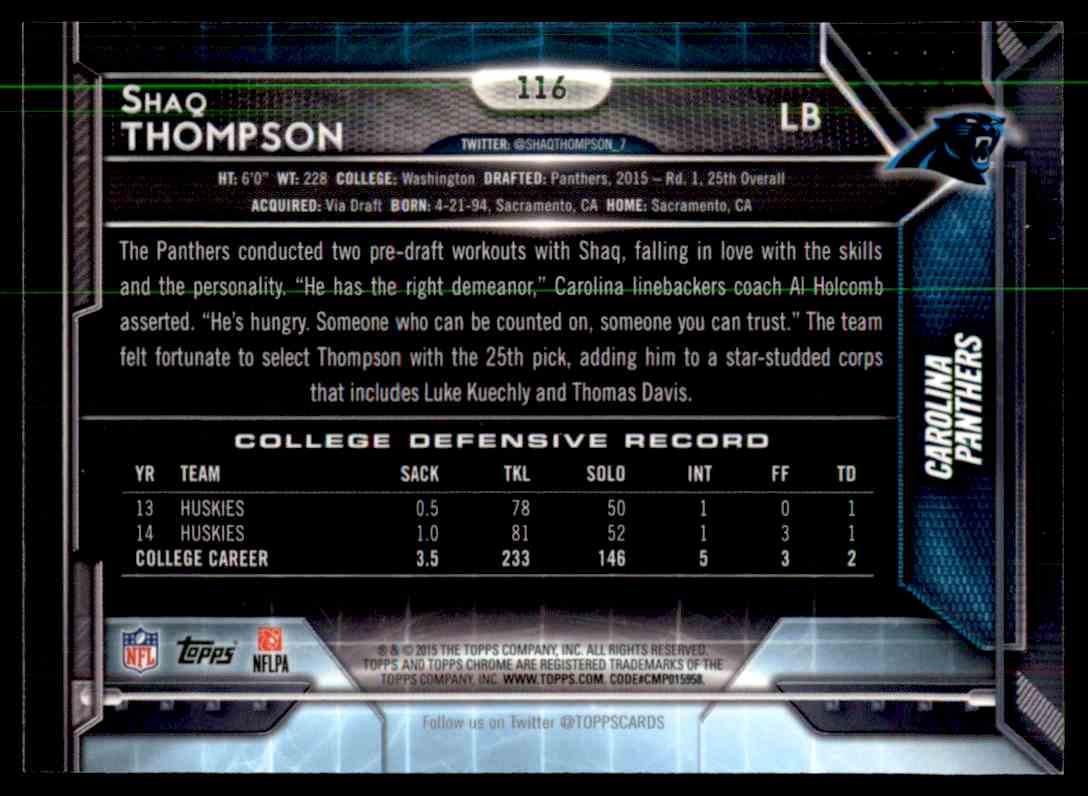 2015 Topps Chrome Purple Refractor Shaq Thompson #116 card back image